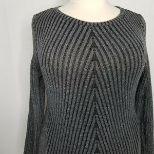 Style & Co Sweaters - Style & Co Ribbed Knit Crew Neck Gray Sweater
